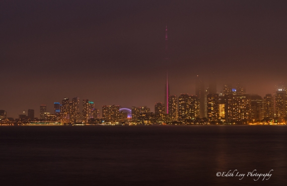 Toronto, cityscape, skyline, night photography, fog, CN Tower, Ward Island, long exposure