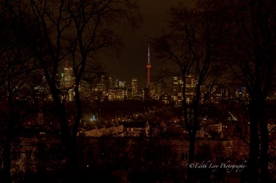 Toronto, nightscape, CN Tower, Casa Loma, view, Casa Loma Terrace, long exposure
