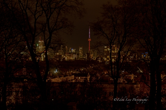 Toronto, nightscape, CN Tower, Casa Loma, view, Casa Loma Terrace, long exposure