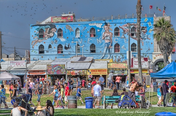 Venice Beach, California, boardwalk, storefront, crowds, people, graffiti, fun in the sun, message parlour,
