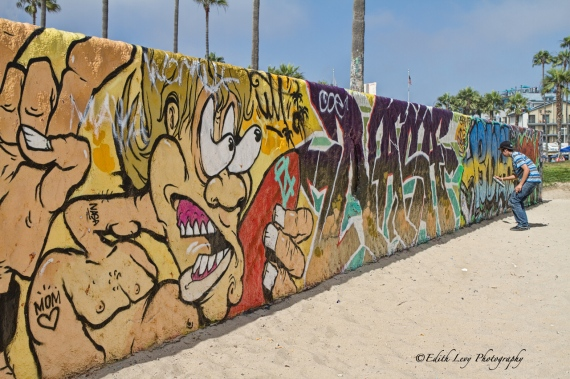 Venice beach, California, graffiti, wall, beach, artist, spray paint, art, outdoor art, pacific ocean