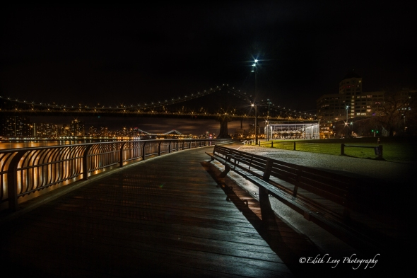 DUMBO, Manhattan Bridge, night photography, city lights, New York, Brooklyn, Jane's Carousel, cityscape