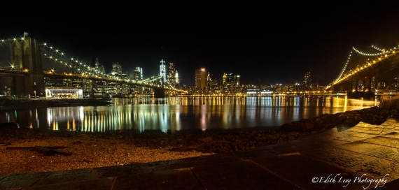 Brooklyn Bridge, Manhattan Bridge, DUMBO, Brooklyn, nightscape, reflection, bridge lights, travel photography, Hudson River