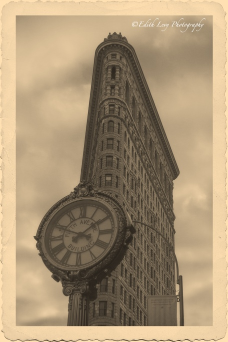 Flatiron building, New York, Manhattan, vintage, postcard, building, architecture, monochrome, clock, fifth avenue