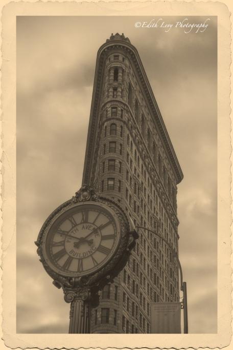 Flatiron building, New York, Manhattan, vintage, postcard, building, architecture, monochrome, clock, fifth avenue