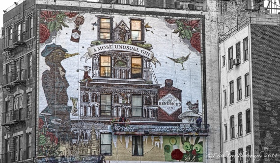 New York, Soho, South of Houston, mural, wall art, street art, Manhattan, Hendrick's, gin, painting, building