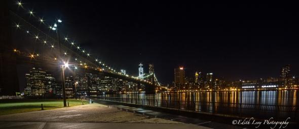 New York, Dumbo, Brooklyn Bridge, city lights, Manhattan, skyline, night photography, long exposure, travel photography