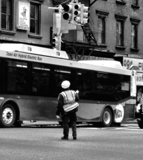 New York, Manhattan, street photography, iPhone, iPhoneography, bus, black and white, traffic cop