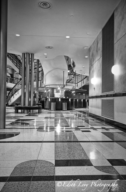 Toronto Centre for the Arts, lobby, interior, Art Deco, North York, North Toronto, Theatre, Black and White, Monochrome