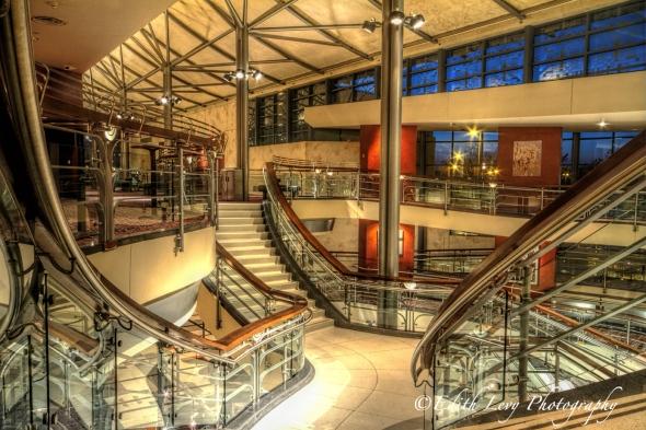 Toronto Performing Arts Centre, lobby, interior, Art Deco, North York, North Toronto, Theatre, upper lobby, staircase