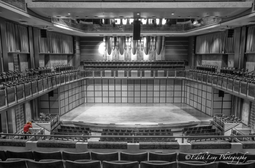 Toronto Performing Arts Centre, interior, Art Deco, North York, North Toronto, Theatre, sets, row, black and white, selective colour