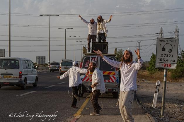 Israel, dancing, Hasidim, Breslov, Hasidic Judaism, outreach, highway, van,