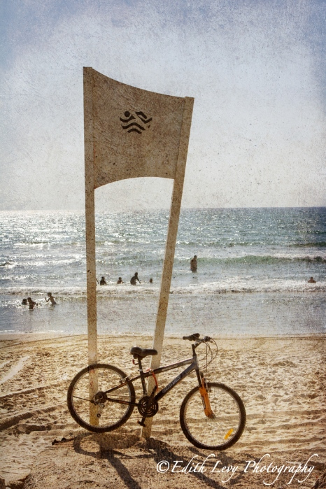 Israel, Hedera, beach, Mediterranean, sea, bicycle, swimmers, texture, travel photography, fine art