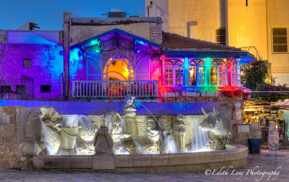 Israel, Old Jaffa, night photography, restaurant, lights, coloured lights, fountain, water long exposure