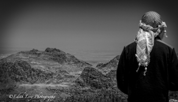 Petra, Jordan, Aaron's Tomb, Jebel Haroun, Mount Hor, mountains, black & white