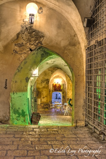 Old Jaffa, Israel, archway, stones, green light, travel