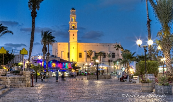 Israel; Old Jaffa; clock Tower; blue hour; town square; long exposure; HDR; travel photography