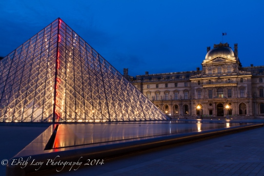 Paris, France, Blue hour, Louvre, Museum, art, pyramid, glass, travel photography