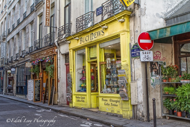 Paris, France, street, store, yellow, travel photography