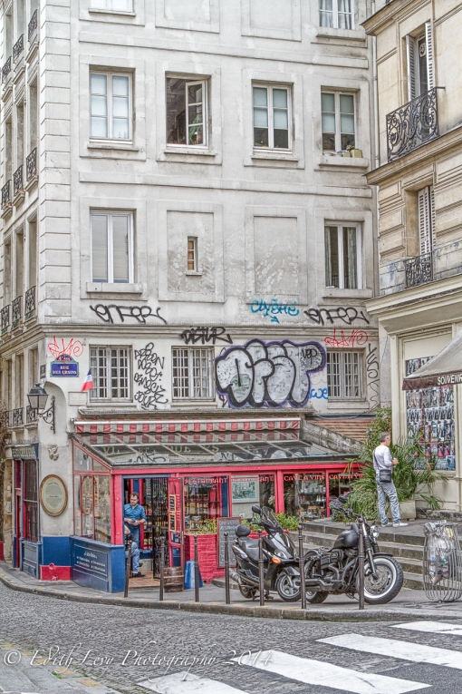 Paris, France, wine shop, graffiti, street photography, travel photography
