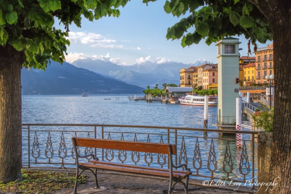 Lake Como, Bellagio, Italy, bench, mountains, travel,