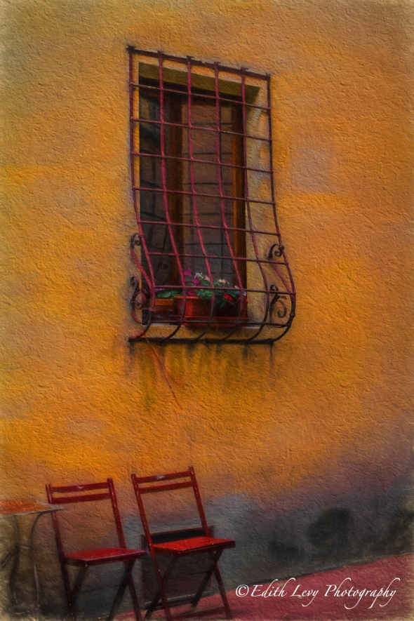 Tuscany, Italy, red chairs, orange wall, Fine Art, travel photography, Topaz Impression