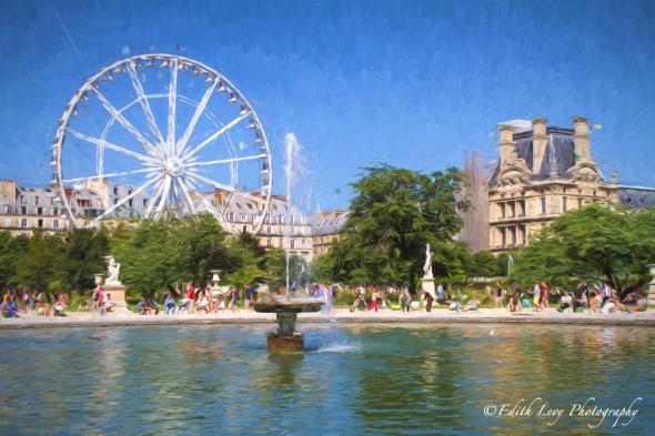 Jardin des Tuileries, Paris, garden, fountain, water, summertime, France, travel photography, Topaz Impression