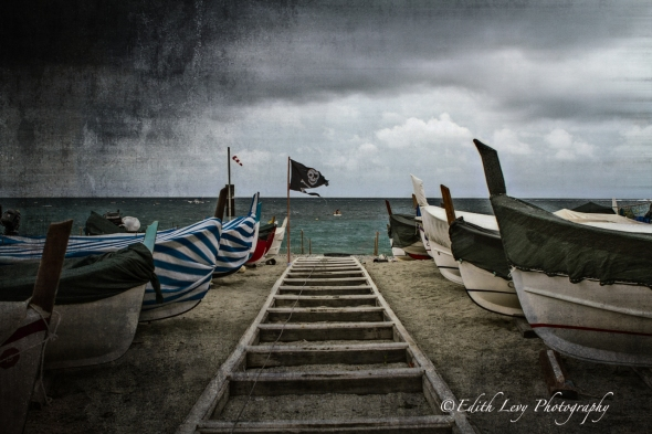 Monterosso, Cinque Terre, Italy, boats, beach, pirate, fine art photography, travel photography