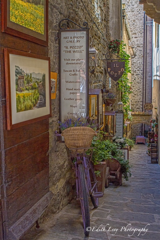 Cortona, Tuscany, Italy, bicycle, gallery, brick wall, street, village, travel photography