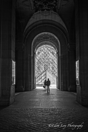 Paris, France, Louvre, museum, tourists, arches, balk and white, monochrome