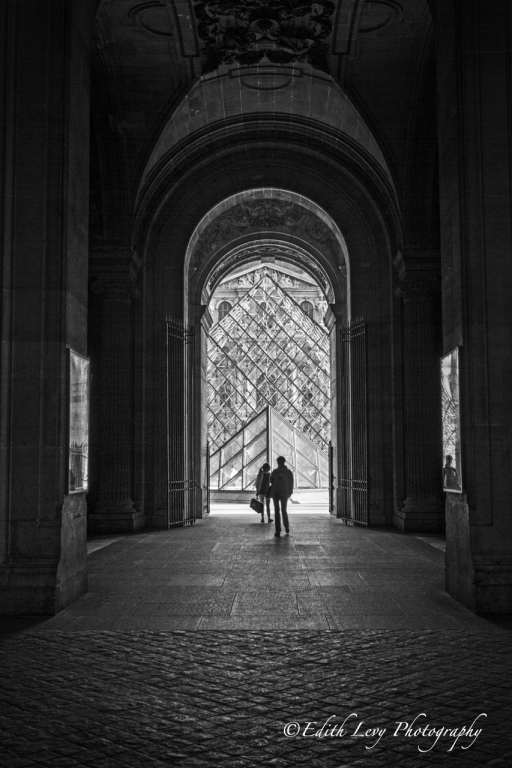 Paris, France, Louvre, museum, tourists, arches, black and white, monochrome