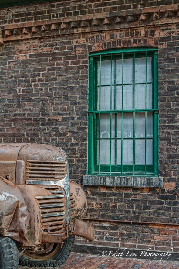 Distillery District, Toronto, Dodge, truck, brick, wall, window, vintage, weathered