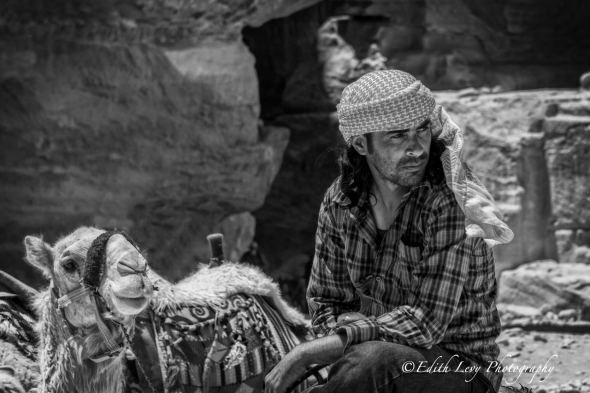 Petra, Jordan, The Treasury, monument, travel, camel, rider, portrait, black and white