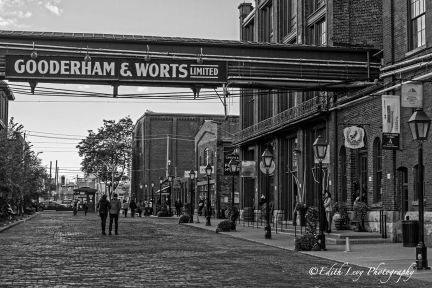 Distillery District, Toronto, Gooderham & Worts, black and white, monochrome,