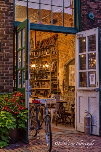Distillery District; Toronto; downtown; store; bicycle; night photography; vintage