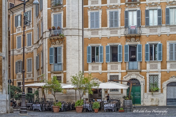 Rome, Italy, restaurent, dining, patio, travel photography, building, shutters