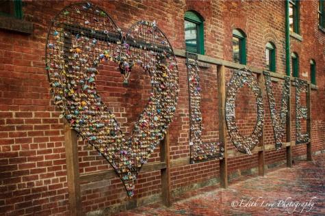 Distillery District, Toronto, art, sculpture, love locks, hearts, Valentine's Day