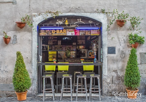 Rome, Italy, Trestevera, bar, stools, travel photography, Toronto Travel Photographer