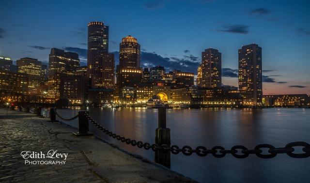 Boston, skyline, Fan Pier, sunset, blue hour, travel photography, harbour, lights, Charles River
