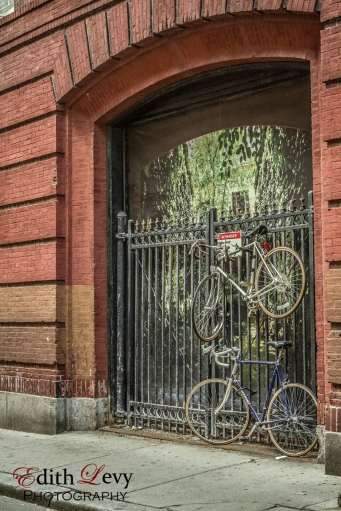 Boston, north end, Little Italy, street, bicycle, parking, fence, street photography,