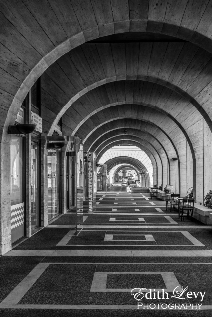 Tel Aviv, Israel, arches, graphic, promenade, black and white