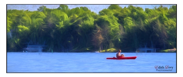Lake Rosseau, Ontario, Muskoka, lake, canoe, trees, man reading in canoe, digital painting