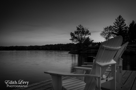 Lake Rosseau, Muskoka, Ontario, Monochrome, black and white, muskoka chairs