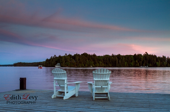 Muskoka, Lake Rosseau, Ontario, Muskoka Chairs, dock, sunset, nature