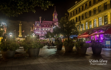 Old Montreal, Quebec, night photography, lights, buildings, historic