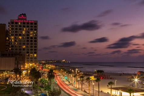 Tel Aviv, Israel, sunset, beach, promenade, Tayelet, long exposure, night, travel photography