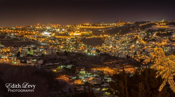 Jerusalem, Israel, cityscape, night photography, lights, hilltop, Dome of the Rock, old city