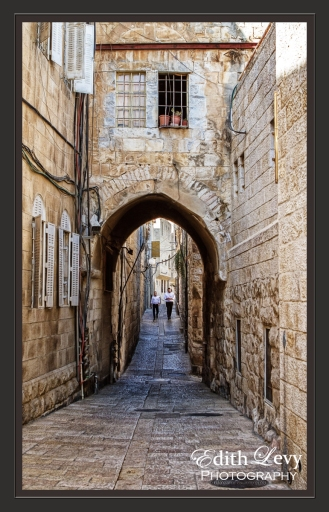 Israel, Jerusalem, old city, arches, brick, Jewish quarter, travel, digital painting
