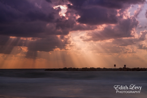 Sunset, Tel Aviv, Israel, Gordon Beach, beach, long exposure, sun rays, water