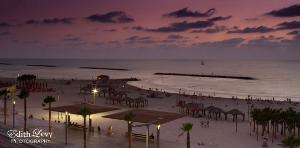 Tel Aviv, Israel, sunset, Mediterranean, sea, coastline, travel photography, Gordon Beach, long exposure
